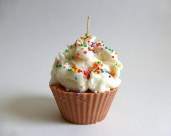 Chocolate scented cupcake candle with sprinkles