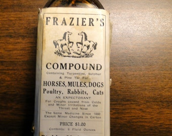 Vintage Advertising Medicine Bottle W/ Original Box - Frazer's Medicine Bottle Binkley Medical Co For Horses Mules Poultry Rabbits & Cats