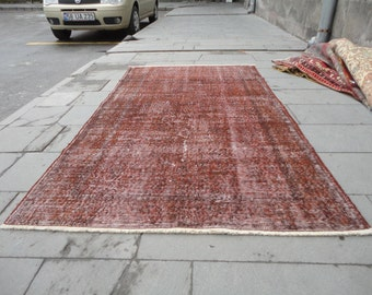 overdyed rug,Overdyed Turkish rug,distressed rug,low pile rug,brown color rug,83'' x 47'' inches,boho rug,over-dye rug,rustic decor,area rug