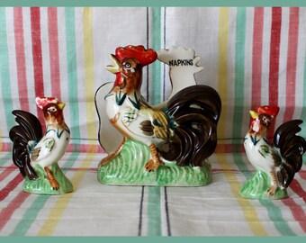50's Rooster Napkin Holder, Salt & Pepper Shakers - Vintage 3 piece Ceramic set by Lipper Mann - Japan