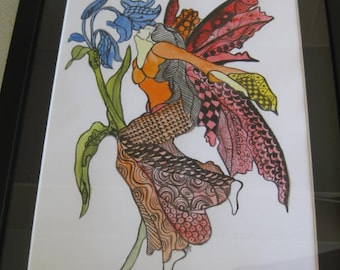Painting - Fairy in watercolour and ink