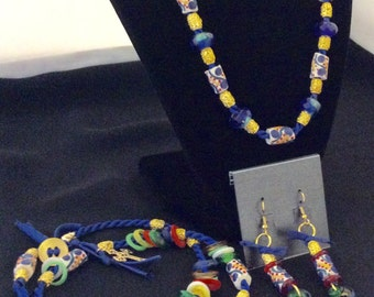 Colorful African Bead Jewelry Set