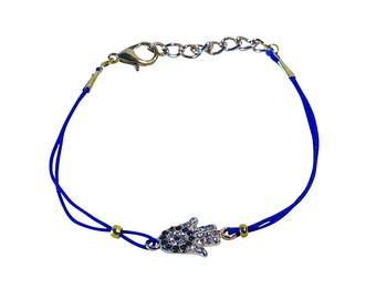 SoulSisters Hamsa hand bracelet Navy Blue Crystal