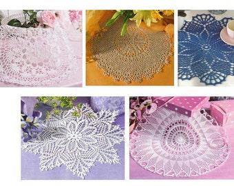 5 pcs crochet doily pattern-only diagrams-in pdf-9