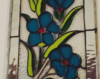 blue primrose stained glass window