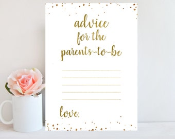 Advice for Parents To Be, Baby Shower Advice Cards, Gold Confetti, Baby Shower Printable Games Activities, Advice for Mommy To Be BBSG1