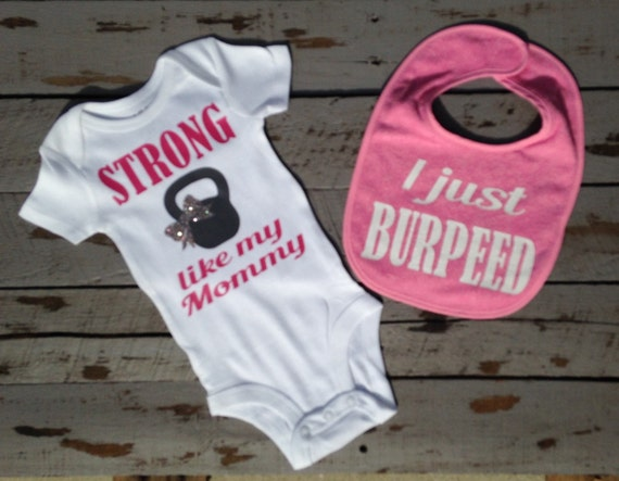 Baby girl clothes strong like mommy workout by