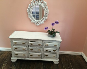 Miniature 1:12 scale Shabby Chic country style Dresser,distressed white,with purple orchid plant and antique style mirror