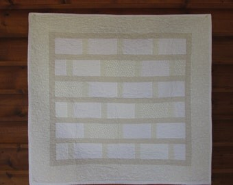 Baby Quilt, Christening Quilt, Boy Quilt, Girl Quilt, Handmade, Vanilla Colors, Free Shipping, Patchwork Quilt, Neutral Colors