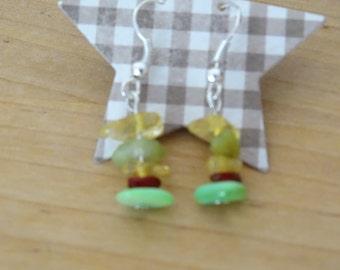 green drop ear rings