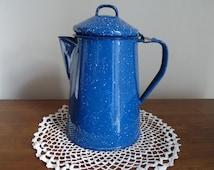 Blue Spatterware Enamel Coffee Pot 1940s Vintage Campfire Pot Retro Graniteware