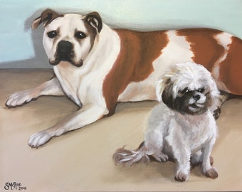 Custom Painted 2 Pet Portrait on (11x14) Wrapped Canvas