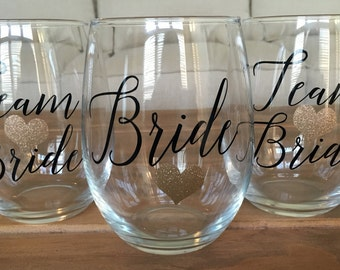 Team Bride, Bachelorette Party, Bridal Party Wine Glasses, Team Bride Stemless Wine Glasses, Bridesmaid Gifts, Bridal Party Gifts