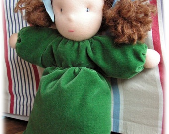 "Soft bagdoll-girl Martha, waldorf doll, pillow doll, cuddle doll for babies, 10""/25cm, hug doll, toddler doll, waldorfpuppe, babypuppe"