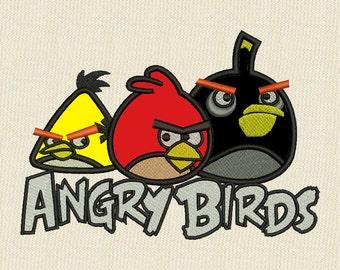 Angry Birds Logo Applique Embroidery Design 4 sizes