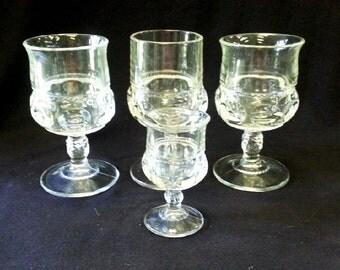 Vintage US-Tiffin King's Crown Thumbprint Stemmed Goblets & Cordial Set of 4, 1950-60 Vintage Glass Collectible Thumbprint
