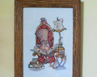 Handmade cross stitch Embroidery reading the gentleman framed
