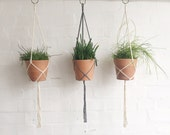 Handmade Macrame Simplistic Plant Hanger // Minimal Hanging Planter // Grey and Natural