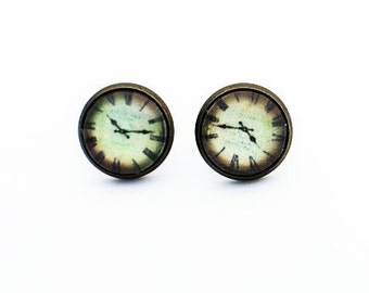 Clock Stud Earrings