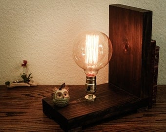 Industrial wooden table lamp; steampunk table lamp; handmade; Edison wooden lamp; bookend table lamp; book stopper; book stopper lamp