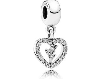 Authentic Pandora Disney's Tinkerbell TINKER BELL Dangle Heart Charm Bead