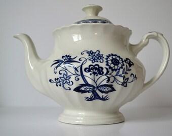 Pretty Blue Nordic Teapot, J&G Meakin, 1960s contemporary vintage, blue and white china, dresser, tea set