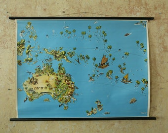 Original Vintage German Educational School Wall Chart AUSTRALIA POLYNESIA MAP South Pacific Quirky Geography Beautiful Rare Westermann