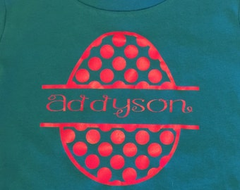 Personalized Easter Holiday polka-dotted Egg T-Shirt