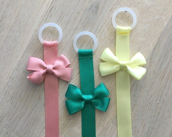 Pacifier Clip with bow. Yellow, green, pink, flowers. Request a colour!