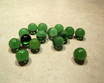 Vintage Green Glass Marbles, Glass Marbles DIY Jewelry, DIY Project, Retro Marbles