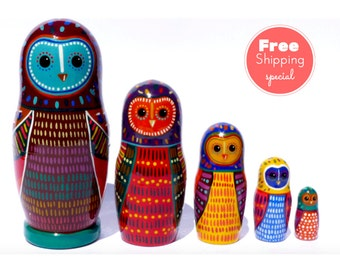 FREE Shipping * Nesting dolls for kids (5 pcs) * Matryoshka * Gift for kids * Babushka doll * Stacking dolls * Owls nesting dolls