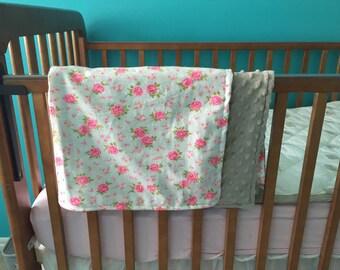 30x30 floral baby blanket