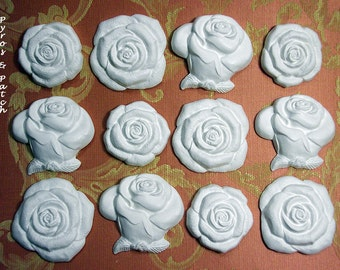 "Set of 12 white chalks ""Rose"" in 3 shaped for decorations, smells and memories for ceremonies - Set di 12 gessetti bianchi ""Rose"" in 3 forme"