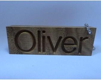 Personalised Oak Keyring * Any Name *