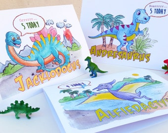 Dinosaur personalised birthday card from my own watercolour designs, any age, complete with dinosaur name and colouring inside
