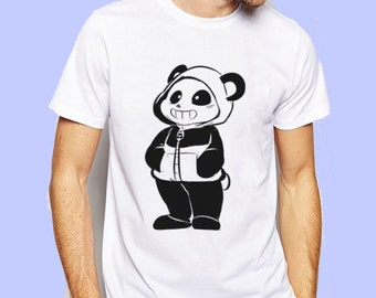 Undertale Sans On Panda Outfit Cute Version Game Inspired T-shirt. Male and Female Apparel