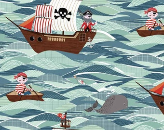 Pirate fabric 17 inch length - Childrens fabric - Boys fabric - Boys room decor - Pirate ships - 100% cotton - Quilting cotton - Dressmaking