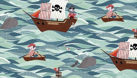 Pirate fabric 17 inch length childrens fabric boys fabric for Kids pirate fabric