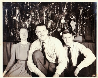 Vintage 50s Photo, 50s Family Photo, Family Christmas Tree Photo, Mid Century Photo, Black & White Photo, 50s Holiday Photo, Family Holiday