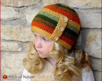 Crochet PATTERN - The Autumn Forest Beanie Hat  (Toddler to Adult sizes - Girls and Boys) - id: 16025