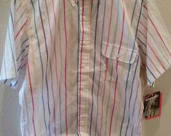 Mens Vintage Wrangler Casuals Striped Medium Button Down