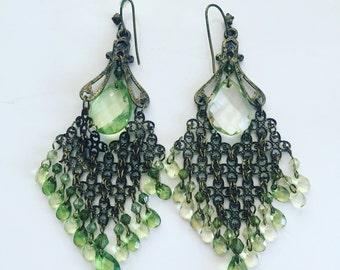 Vintage Large Green Chandelier Earrings