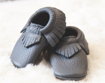 Genuine Leather baby/toddler moccasins-GRAY