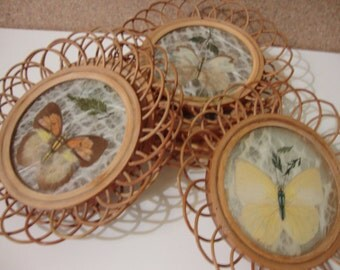 Set of 6 Ratan/Bamboo Drink Coasters with Butterflies and Pressed Flowers Vintage Coaster Set