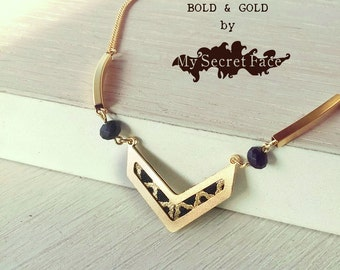 V gold necklace, gold and black necklace, geometric jewelry, chevron necklace, chevron pendant
