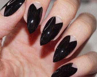 Black negative triangle space • Handpainted False Nails • Fake Nails • Press on Nails • Stick on Nails