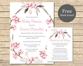 Cherry Blossom Boho Baby Shower Printable Invitation & Book Insert, Pink Floral Boho Shower Invite Book Insert, Boho Shower, Download 021-A