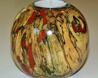 "Spalted Oak Tea Light Holder - the ""Red Planet"""