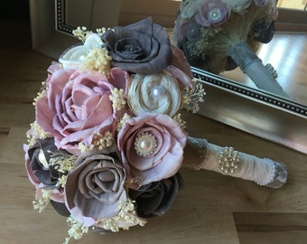 Rose wedding bouquet, Bridal bouquet, Sola wood bouquet, Alternative bouquet, Customizeable bouquet, Blush rose flowers, Wedding flowers