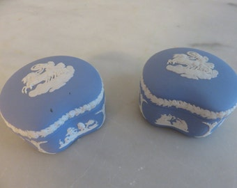Vintage Pale Blue Wedgwood Jasperware Small Trinket Box Made in England-set of 2